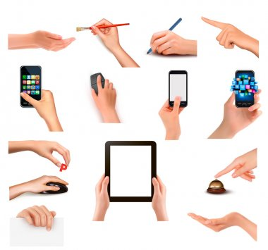 Collection of hands holding different business objects