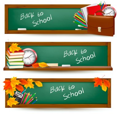 Back to school banners with school supplies
