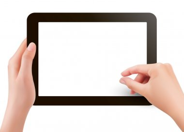 Fingers pinching to zoom tablet s screen