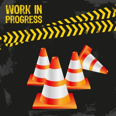 Traffic cones on grunge background with signals, vector illustration. clip art vector