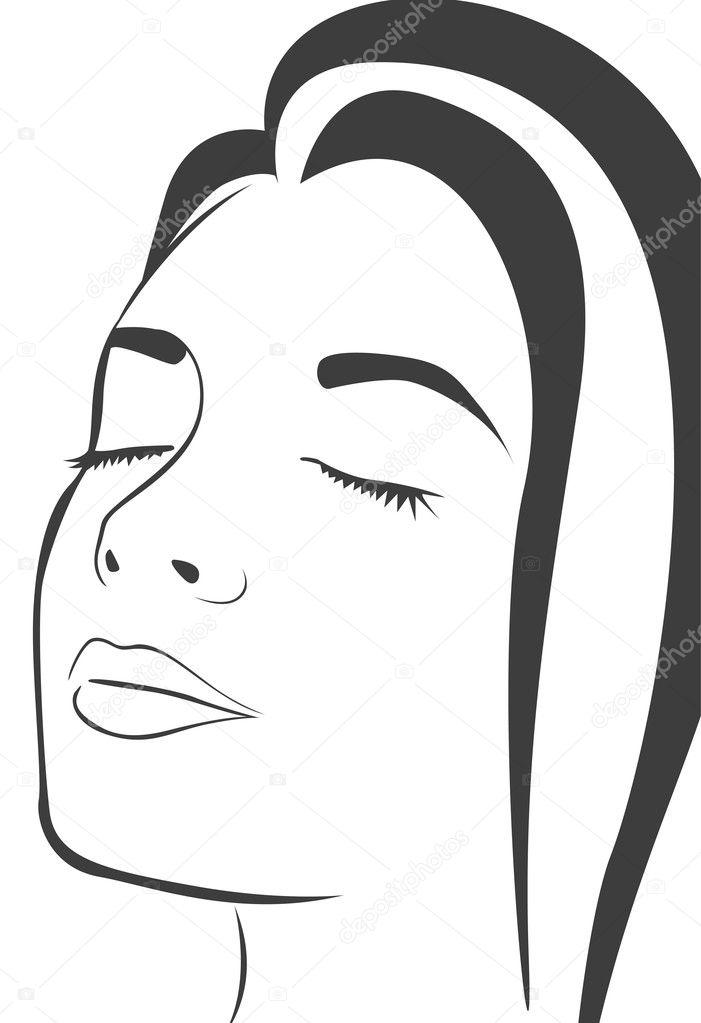 Line Drawing Face Vector : Rostro de mujer — vector stock  depositphotos