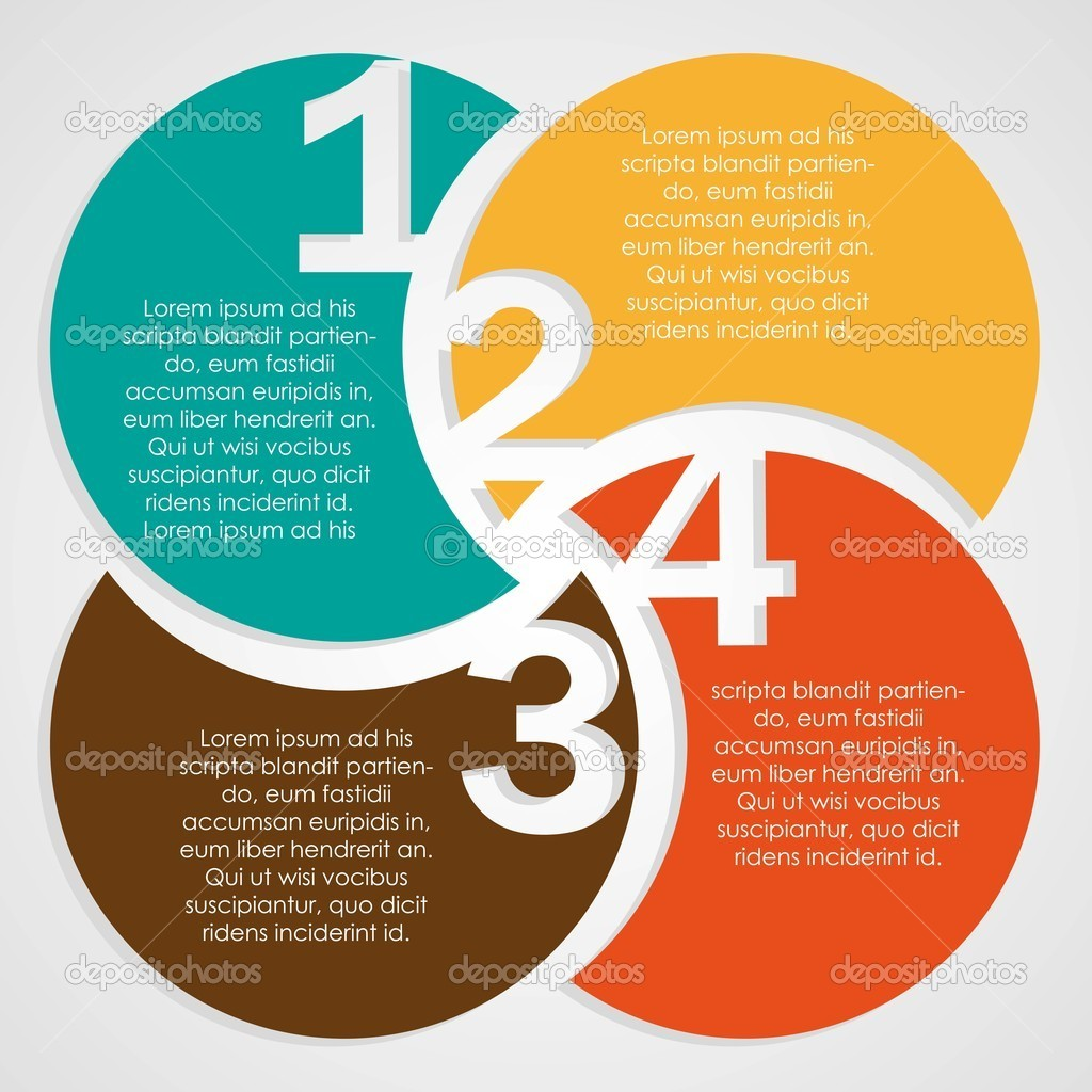 Numbering in colored circles, step by step. vector illustration clipart vector