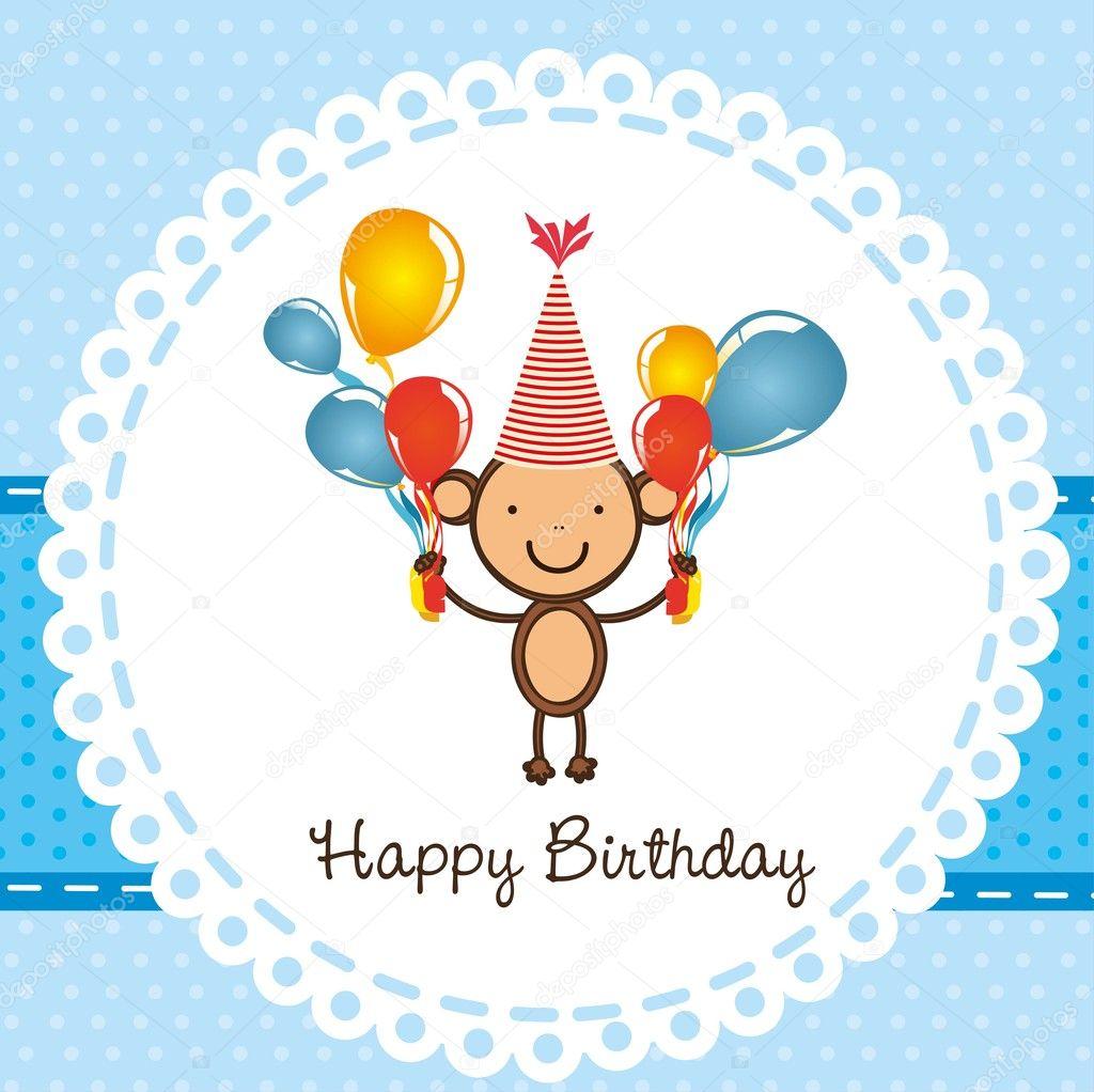 Вишенки для, открытка с обезьянкой с днем рождения