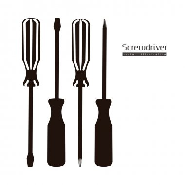 Silhouette Screwdrivers isolated on white background, vector illustration stock vector