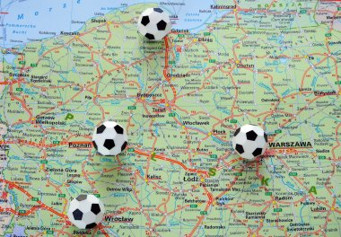 Soccer balls on the map of Poland