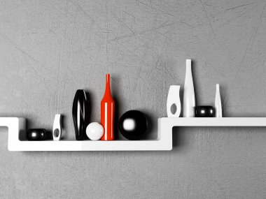 Creative shelf with the vases