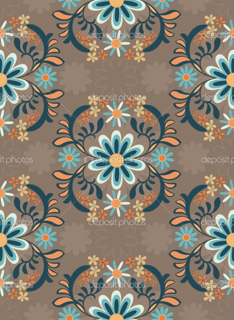 Background with colorful ornamental flowers