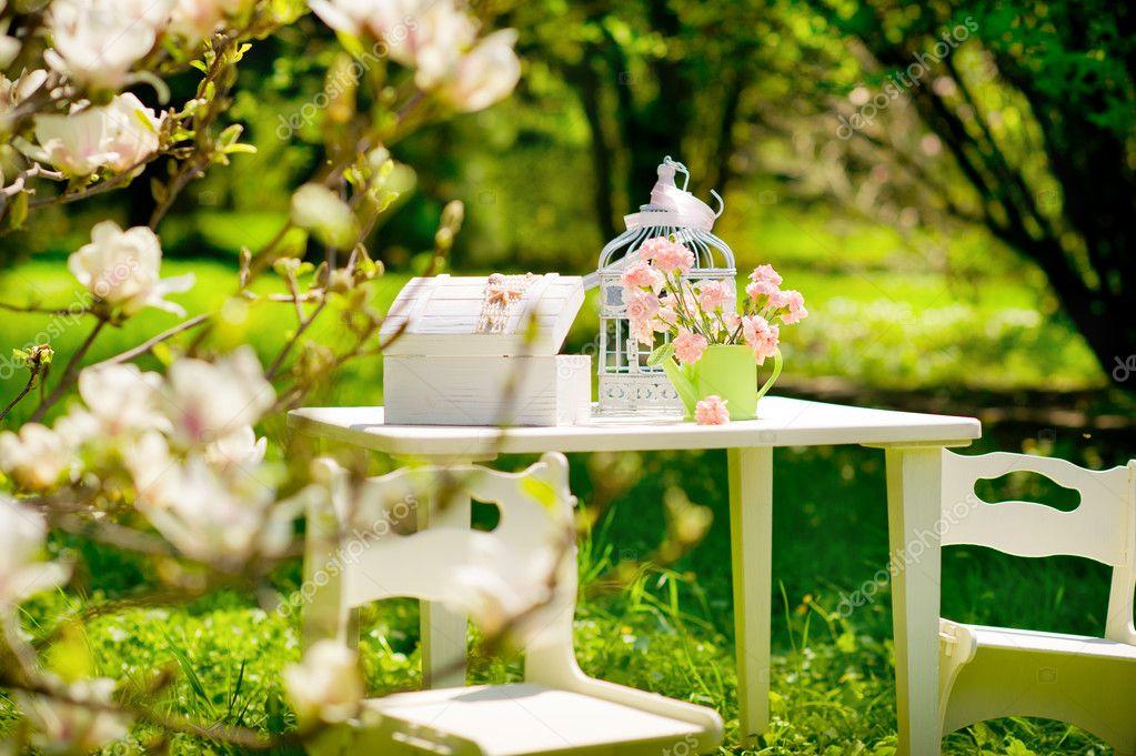 Relaxing in blooming garden