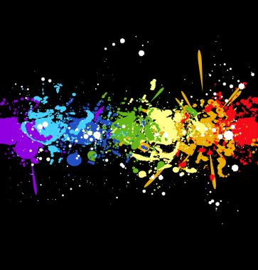 Color rainbow paint splashes for background vector eps