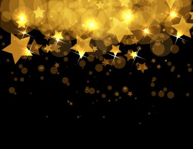 Abstract gold stars on dark vector background