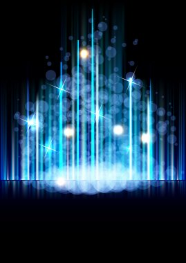 Abstract space forest vector background with north star way