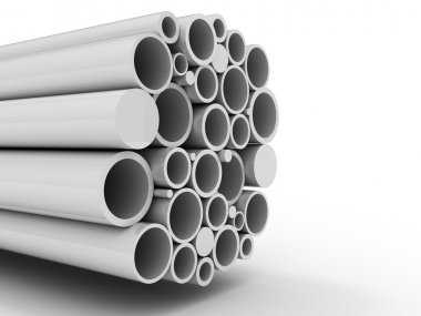 Stack of steel metal tube pipes background
