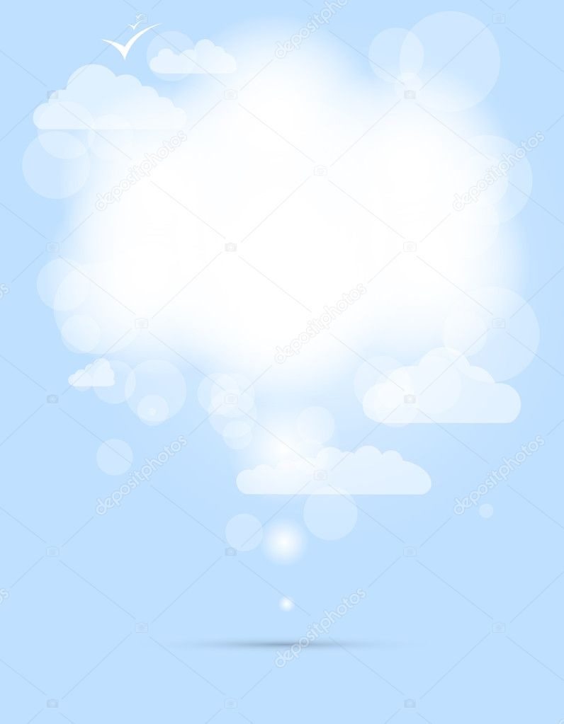 Abstract speech white shining cloud vector background