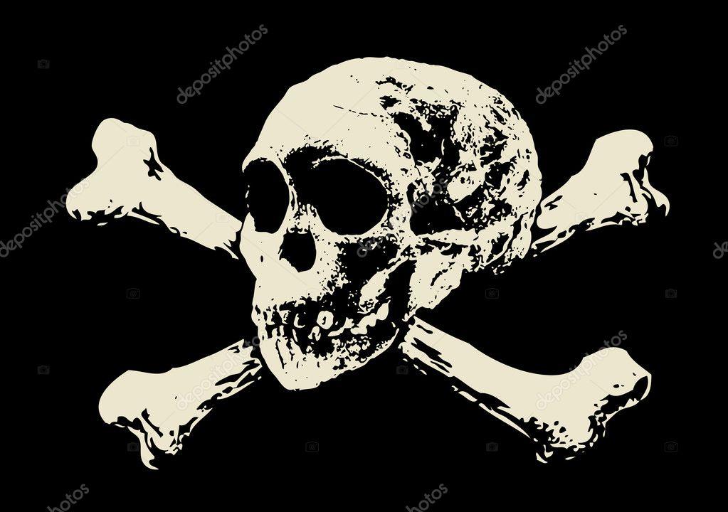 Vector. Evil skull with bones. Warning sign
