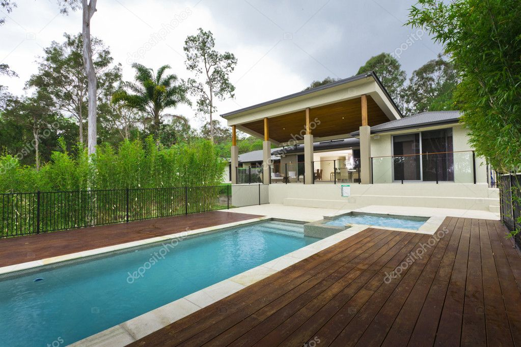 Moderner Garten Mit Pool U2014 Stockfoto