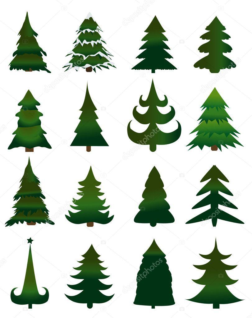 depositphotos 12284077 stock illustration set of christmas trees vector