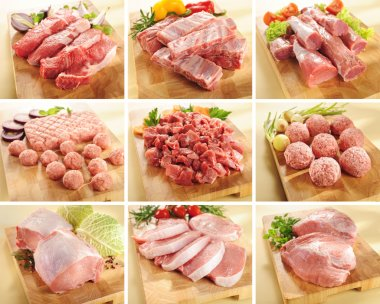 Pork and beef meat collection