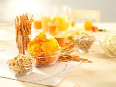 Salty snacks. Pretzels, chips, peanuts, crackers, popcorn