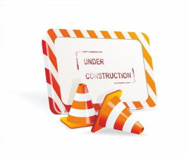 Under construction sign and traffic cone icons.