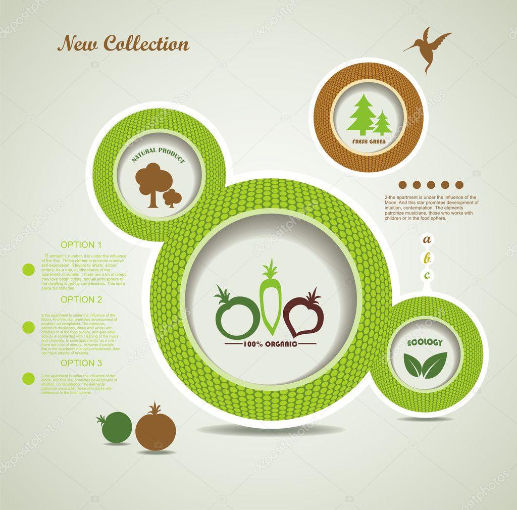 Set of organic and farm fresh food bubbles