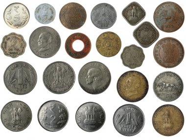 New and old indian coins in silver, copper, brass