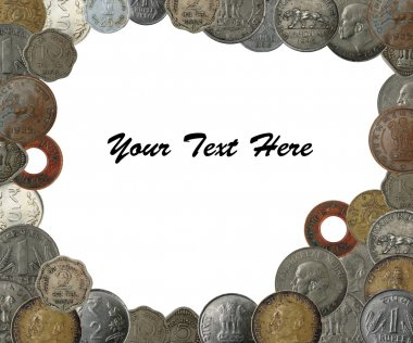 Indian coins as a frame border with copy space
