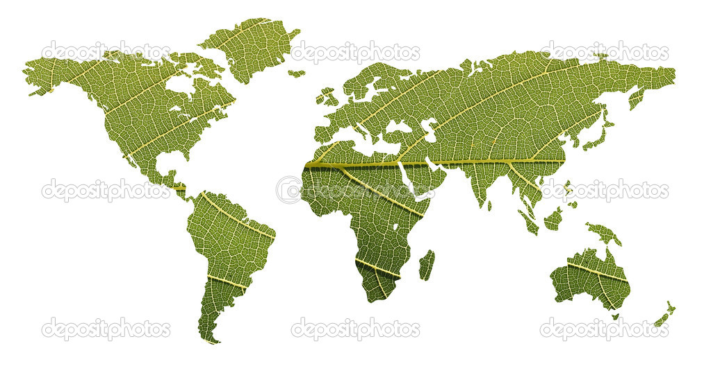 Ecological balance concept- world map using leaf