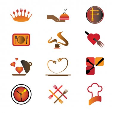 Hotel, resort and restaurant industry related food and logo icon