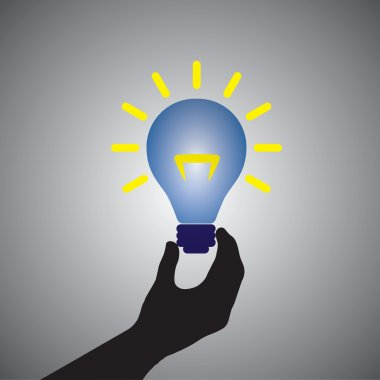 Graphic of person holding colorful bright incandescent light bul