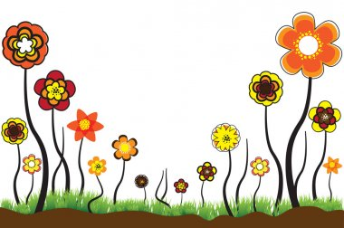 Beautiful floral illustration of seasonal blooms in summer or sp