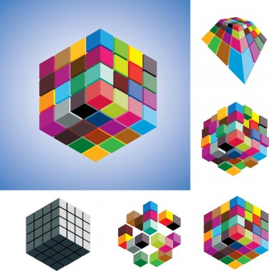 Illustration of colorful and mono-chromatic 3d cubes arranged in