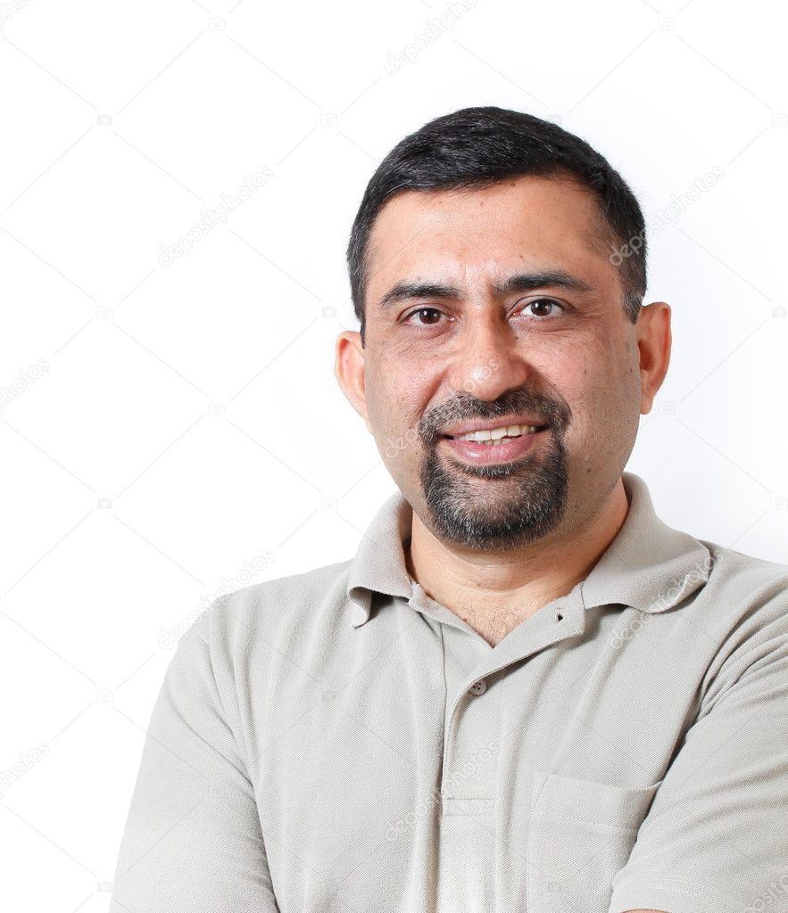 Handsome and happy middle aged mature indian adult business man — Stock  Photo