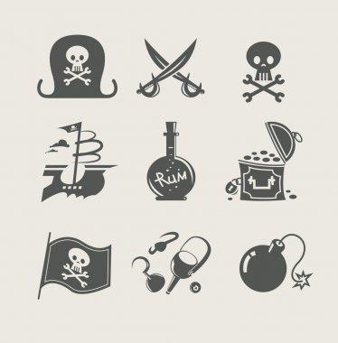 Pirates accessory set of icon vector illustration stock vector