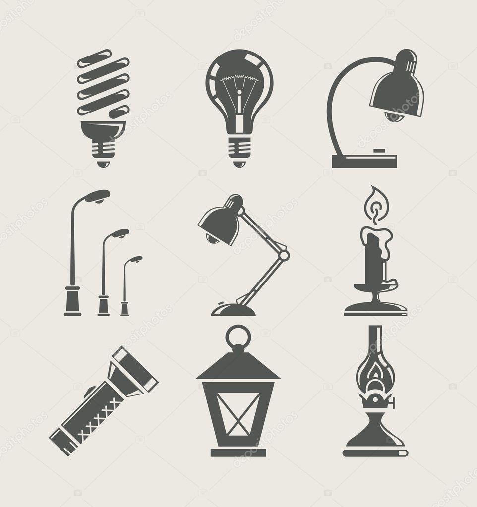Light bulb and lighting appliance. set icon