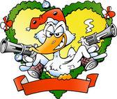 Fotografie handgezeichnete Vektor-Illustration eine einladende Ente
