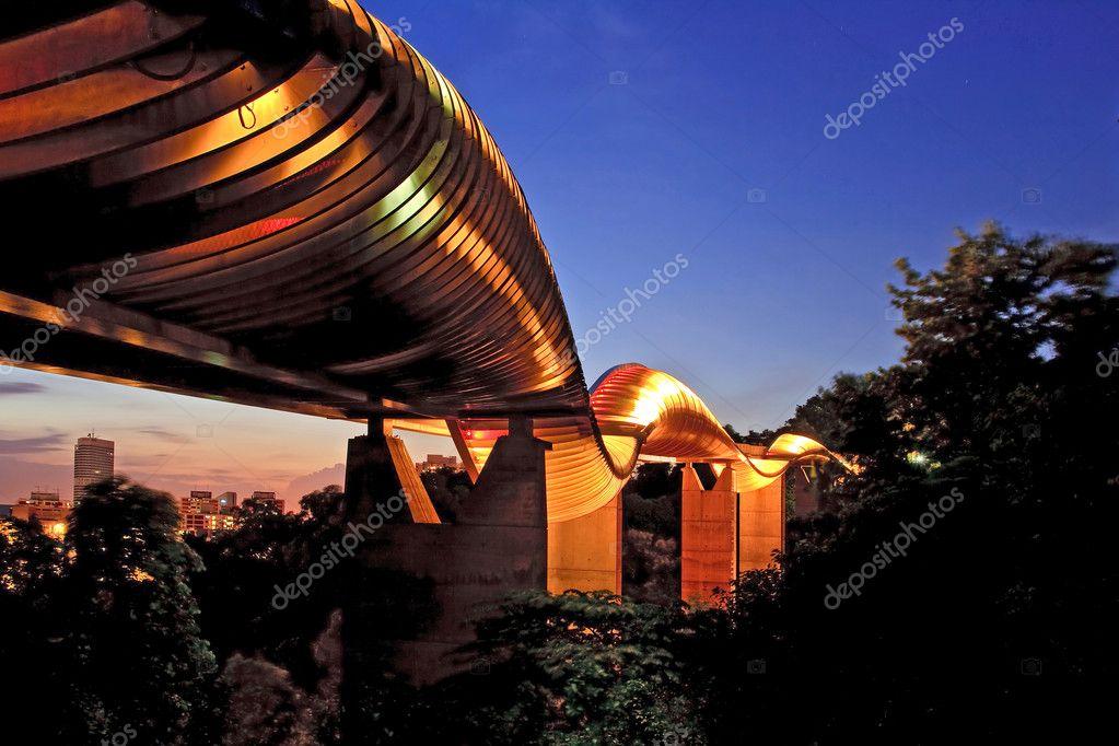 Singapore henderson wave bridge shine at dusk