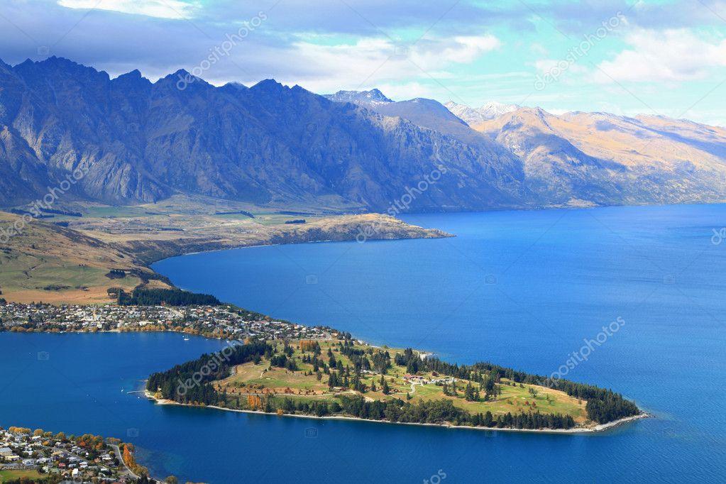 Closeup of queenstown New Zealand