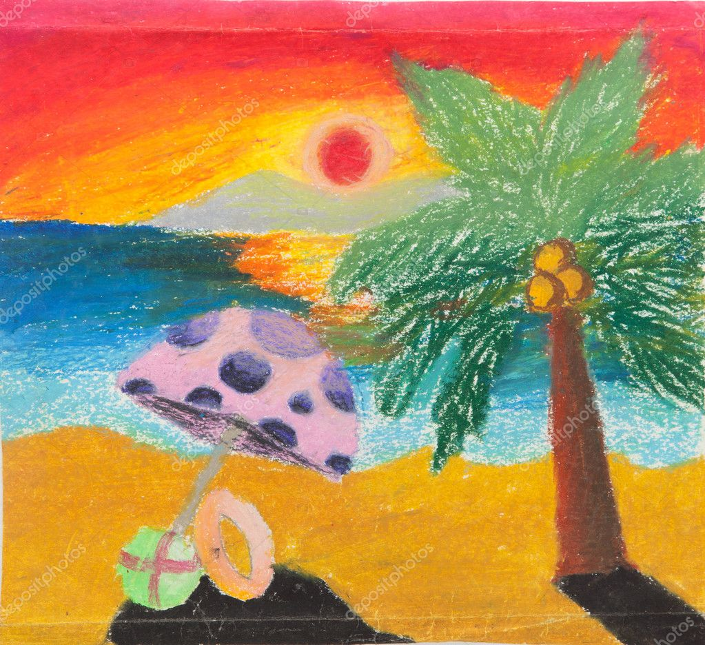 Tropical beach free hand drawing