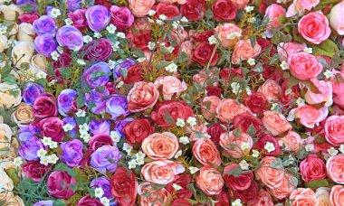 Fake flowers background