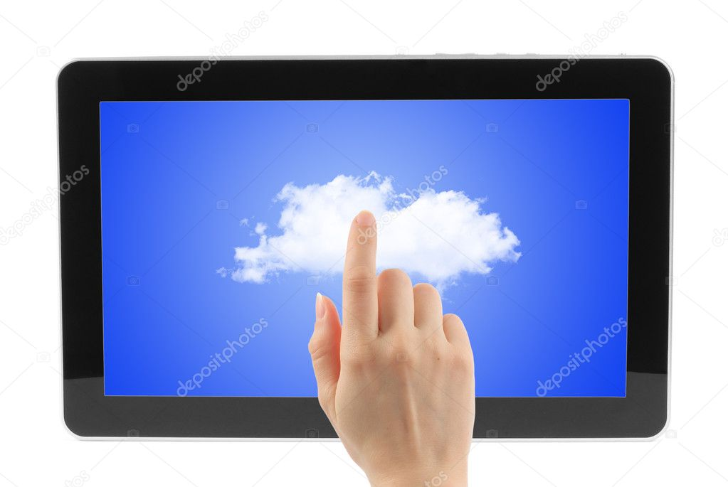 Touch screen device with blue sky and woman hands