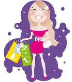 Pretty blonde woman with shopping bag
