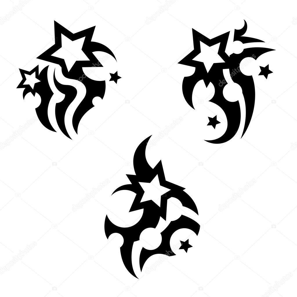Tattoo Met Sterren Stockvector Angle 12355422