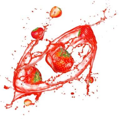Strawberries in splash, isolated on white background stock vector
