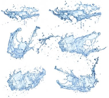 Water splashes collection isolated on white background stock vector