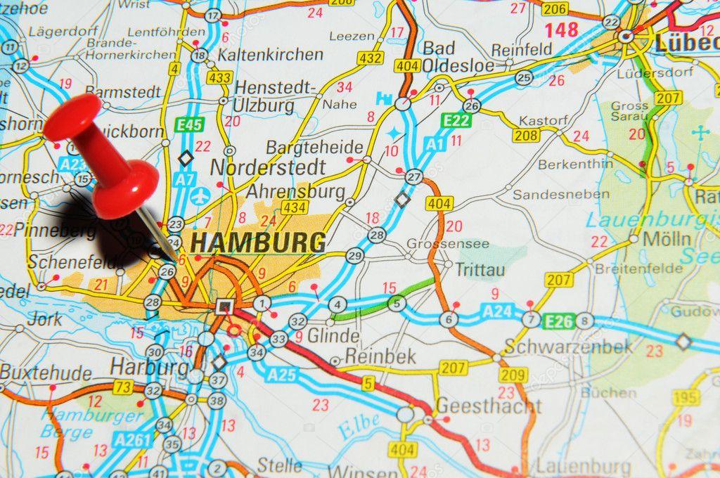 Hamburg on map stock photo lucianmilasan 11559255 london uk 13 june 2012 hamburg germany marked with red pushpin on europe map photo by lucianmilasan gumiabroncs Images