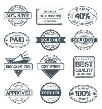 This is a set of high details grunge selling rubber stamps... clip art vector