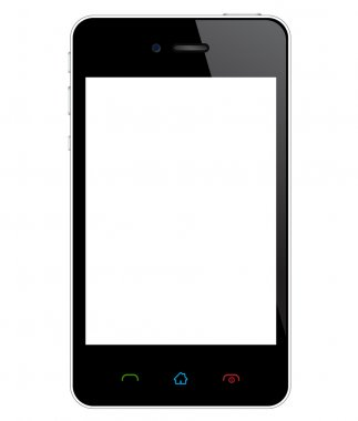 Detailed illustration of mobile phone with white blank screen. Easy editable with layers... stock vector