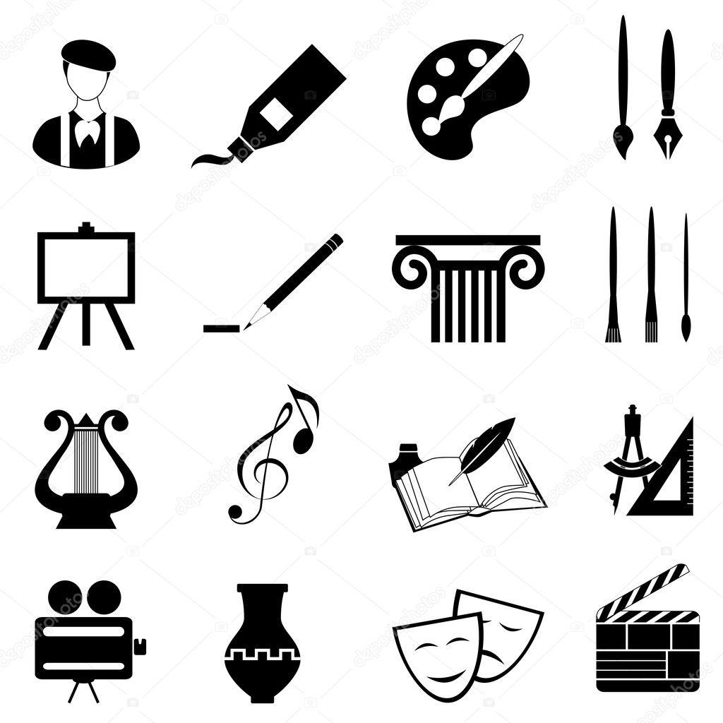 Arts icon set in black stock vector