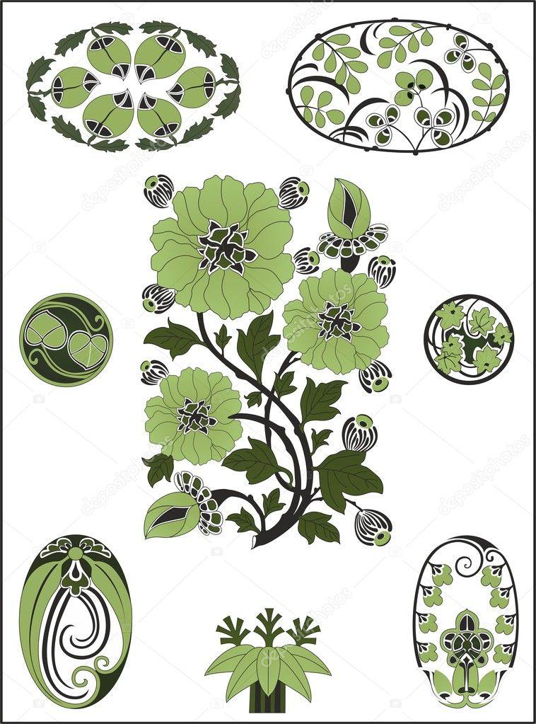 Art Nouveau Modele De Fleur Image Vectorielle Zetta C 11303413