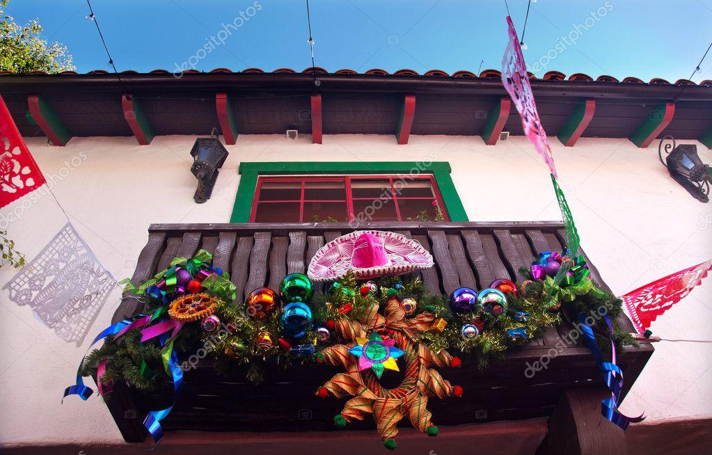 Weihnachten Dekorationen mexikanischen Balkon alten San Diego Stadt ...